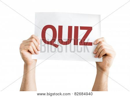 Quiz card isolated on white background
