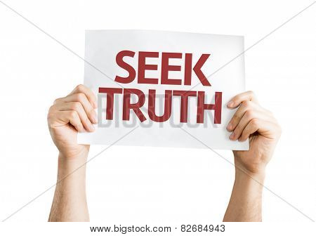 Seek Truth card isolated on white background
