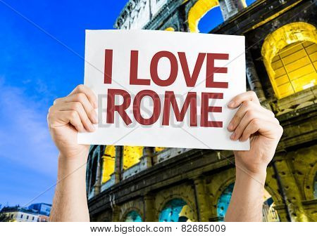 I Love Rome card with Coliseum background
