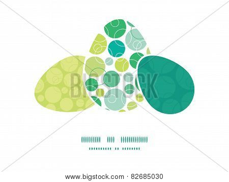 Vector abstract green circles three matching Easter egg sillhouettes frame card template