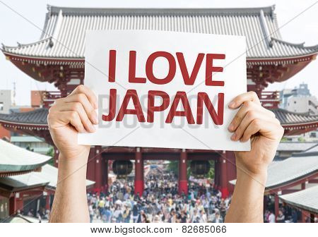 I Love Japan card with Senso-ji Temple background