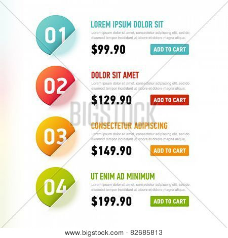Vector template with options and prices