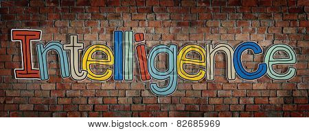 Intelligence Brick wall Single Word Text Background Clean Concept