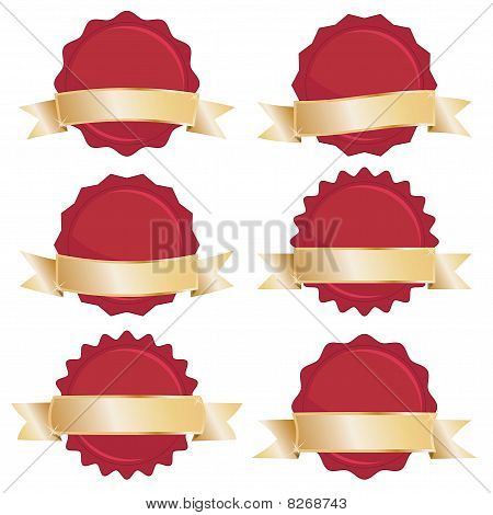 red seals with gold banners