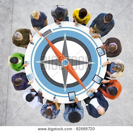 Direction Compass Longitude Latitude Brainstorming Concept