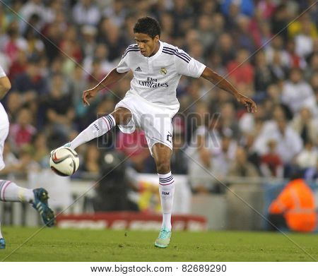 BARCELONA - OCT, 29: Raphael Varane of Real Madrid during the Spanish League match between Espanyol and Real Madrid at the Estadi Cornella on October 29, 2014 in Barcelona, Spain