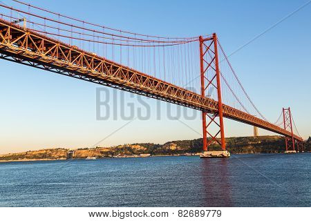 Rail Bridge  In Lisbon, Portugal.