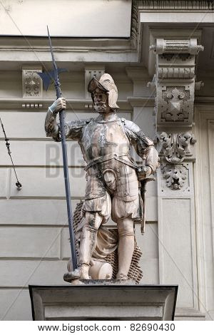 GRAZ, AUSTRIA - JANUARY 10, 2015: Statue of Austrian soldiers on the portal of City Hall. Graz is the capital city of Styria, Austria on January 10, 2015.