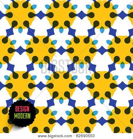 Abstract Colorful Seamless Geometric Mosaic. Pattern for Abstract Backgrounds, Cards, Banners, Placards and Posters Designs. Black Label for Company Logotype.