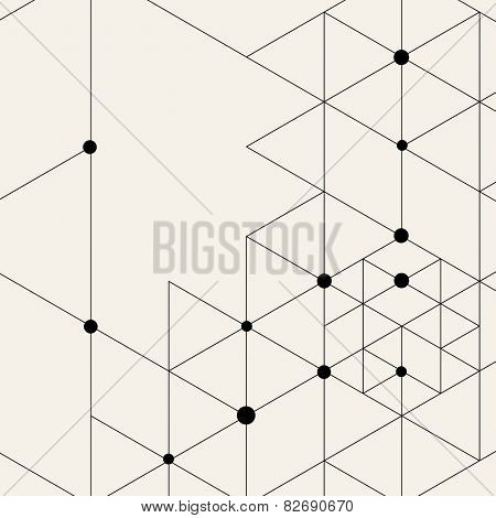 Vector Modern Pattern. Black Techno Texture. Geometric Pattern Background. Rhombus and Circles in Nodes. Abstract Ornament for Business Design.