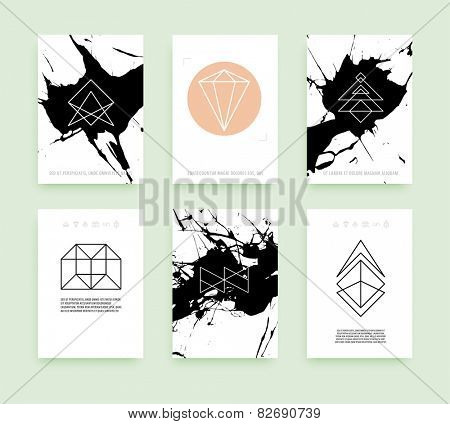Set of Business Card Templates. Line Geometric Hipster Symbols for Logotype Design. Abstract Modern Vector Signs Collection for Banner, Poster, Placard or Card Design.