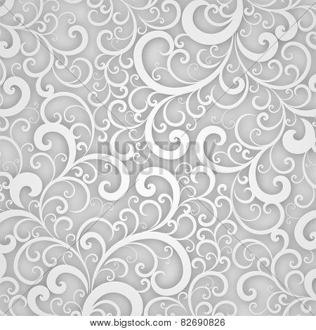 Vector Floral Pattern. Abstract 3D Background for Invitation Cards, Banners, Placard and Posters Decoration. Silver Swirl Ornament.