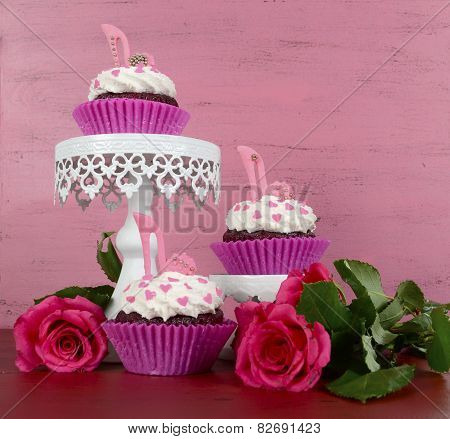 International Womens Day, March 8, Cupcakes With High Heel Stiletto Fondant Shoes On Vintage Pink Wo