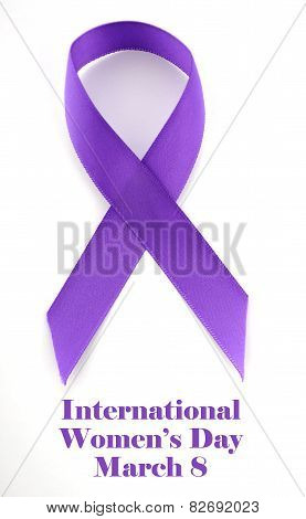 International Womens Day, March 8, Purple Ribbon On White Background With Sample Text, Vertical.