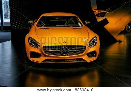 NEW YORK - FEBRUARY 12: A Mercedes model show during Fall/Winter 2015 collection during Mercedes-Benz Fashion Week in New York on February 12, 2015.