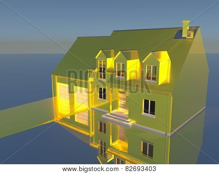 Golden House On Silver Ground
