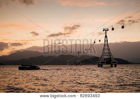 Cable Way At Sunset