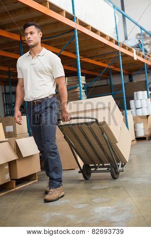 Warehouse worker moving boxes on trolley in a large warehouse
