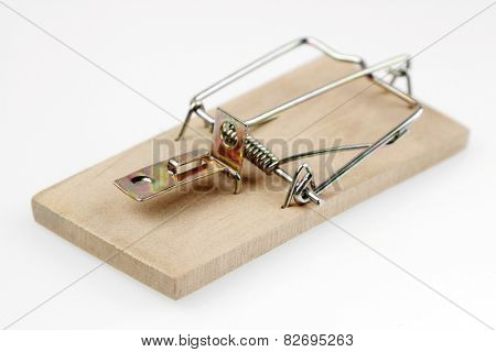 Mouse trap on plain background