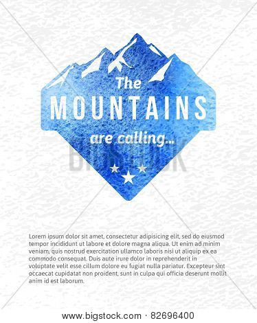 Watercolor mountain label with type design