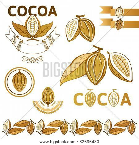 Cocoa beans icons and emblems
