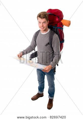 Young Attractive  Backpacker Tourist Looking Map Carrying Big Backpack Ready For Travel And Adventur