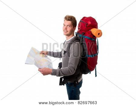 Young Attractive Backpacker Tourist Looking Map Carrying Big Backpack Ready For Travel And Adventure