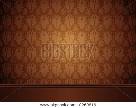Vector - Vintage Room with wood floor and seamless wallpaper.