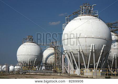 Tanks In Oil Refinery Factory