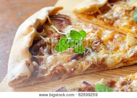 Pizza with ham and oregano in dark background