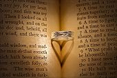 image of bible verses  - Silver wedding band with heart shadow on open Holy Bible in sepia - JPG