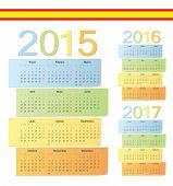 Постер, плакат: Set Of Spanish 2015 2016 2017 Color Vector Calendars
