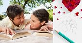 image of sketch book  - Two friends looking at each other while reading books on a blanket against sketch of kissing couple with pencil - JPG