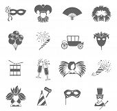 stock photo of magic-wand  - Carnival  festive face masks black icons set with feathers fan and magic wand abstract vector isolated illustration - JPG