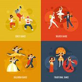 stock photo of traditional  - Dancing style design concept set with street theater ballroom traditional dance flat icons isolated vector illustration - JPG