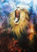 foto of airbrush  - airbrush painting of a mighty roaring lion emerging from an abstract cosmical background - JPG