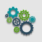 pic of composition  - Cog wheel colored composition mechanical gears teamwork concept vector illustration - JPG