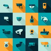 pic of police  - Security camera police video guard electronic icon set isolated vector illustration - JPG