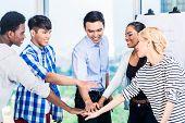 foto of entrepreneur  - Tech entrepreneurs with team spirit and motivation - JPG