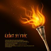 picture of flames  - Torch flame realistic background with light my fire text vector illustration - JPG