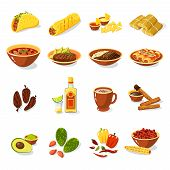 stock photo of corn  - Mexican traditional food set with meat avocado tequila corn isolated vector illustration - JPG