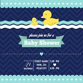 foto of baby duck  - baby shower invitation with duck in retro style vector format - JPG