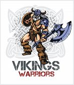 picture of raider  - Viking norseman mascot cartoon with ax and shield  - JPG