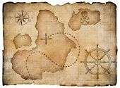 picture of treasure map  - Old pirates parchment treasure map isolated - JPG