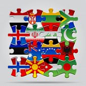 image of flags world  - Set of puzzle with World flags - JPG