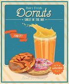 image of donut  - Vintage donuts poster with label - JPG