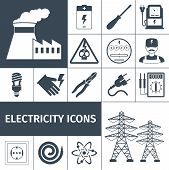 stock photo of multimeter  - Electricity icons black set with power plant battery screwdriver multimeter isolated vector illustration - JPG