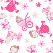 stock photo of rag-doll  - Shoe house with doll and pram seamless pattern  - JPG