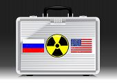 image of nuke  - Silver suitcase nuke with flags of RUSSIA and USA  - JPG