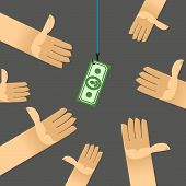 image of money  - first among competitors. Money on a hook. Fish and
